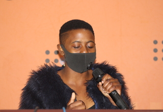 HAVE FAITH: Sizolwethu Maphanga gestures while making remarks as a Youth Representative during the International Youth Day.