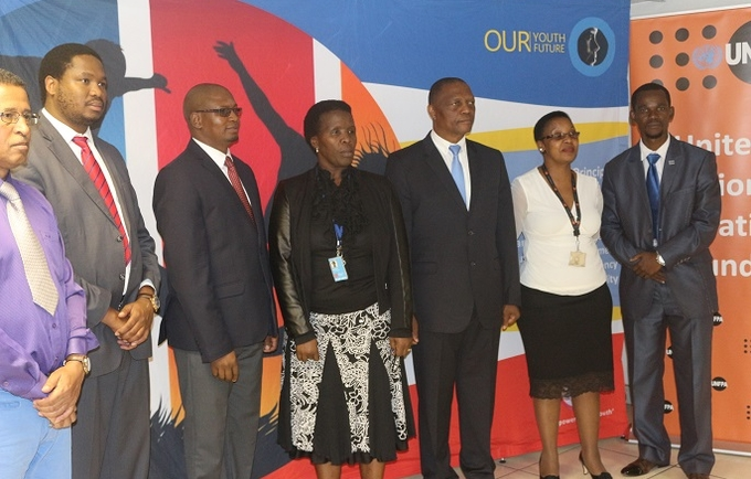 Honourable Minister of Sports Culture, And Youth Affairs Mr. D. Ngcamphalala flanked by the UNFPA Assistant Representative, Ms. Margaret Thwala-Tembe (right), Swaziland National Youth Council Chairperson, Mr. Babsy Mavuso, The Ministry's Principal Secretary Prince Mlayeto and the Under Secretary, Mr. Henry Zeeman, left, Ms. Sally Mlotsa, Assistant to the UNFPA Representative and Mr. Petros Dlamini CEO for the Swaziland National Youth Council © UNFPA Swaziland 2017