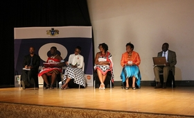 Discussion panel members from left Elections and Boundaries Commission representative Mr. Mbonisi Bhembe, Traditional leadership representative Chief Mawandla Gamedze, Swaziland National Youth Council (SNYC) Representative Ms. Colisile Masilela, Coordinating Assembly of Non- Governmental organisations (CANGO) representative Ms. Lungile Mnisi, Lutsango Women's regiment representative Princess Phumelele and Ministry of Justice and Constitutional Affairs representative Mr. Vikinduku Manana ©UNFPA 2018